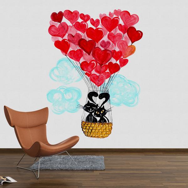 Sticker decorativ perete - Balonul dragostei 0