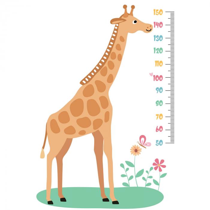 Sticker de perete personalizat - Metru cu girafa 2
