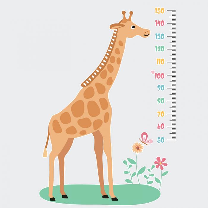 Sticker de perete personalizat - Metru cu girafa 1