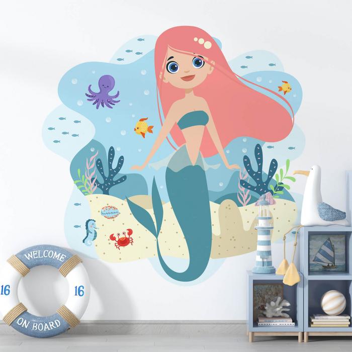 Sticker decorativ de perete - Mica sirena 0