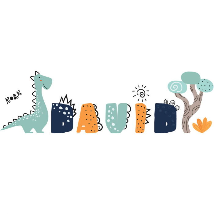 Sticker pentru perete personalizat - Lumea lui Dino [2]