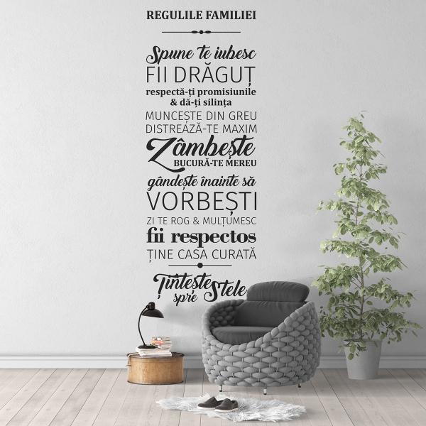 Sticker decorativ perete - Regulile familiei 0