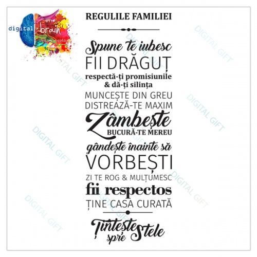 Sticker decorativ perete - Regulile familiei 1