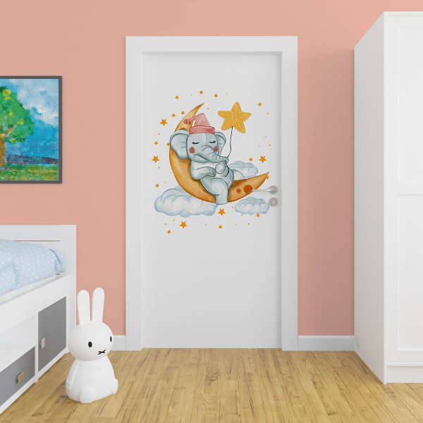 Sticker pentru ușă - Elefantul somnoros 0