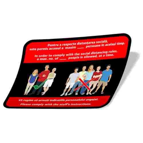 Sticker prevenție Covid-19 bilingv - Număr maxim de persoane 2