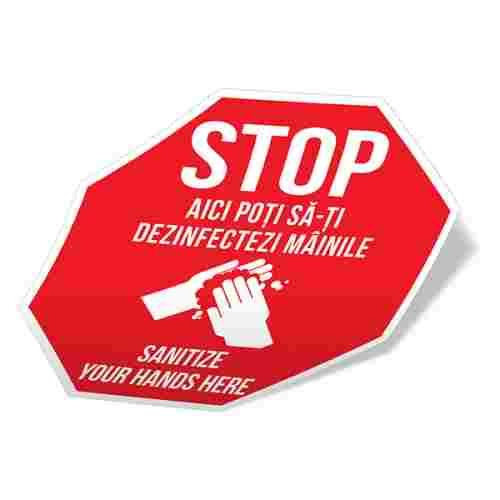 Sticker prevenție Covid-19 bilingv - Punct de dezinfectare 2