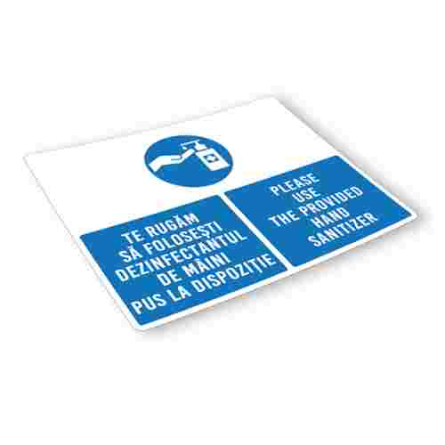 Sticker prevenție Covid-19 bilingv - Recomandare de dezinfectare a mâinilor 2