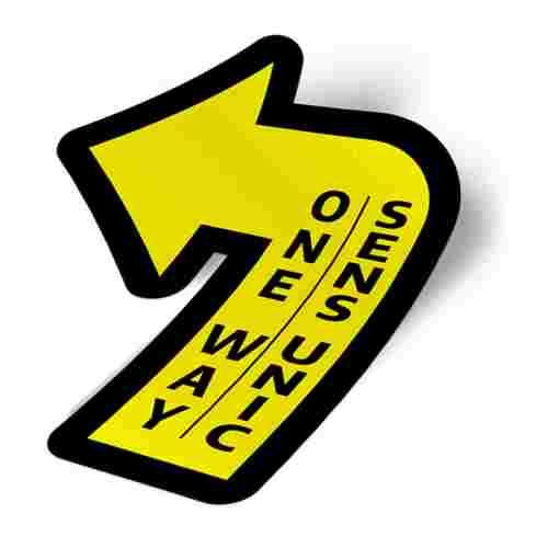 Sticker prevenție Covid-19 pentru pardoseală bilingv - Săgeată spre stânga 2