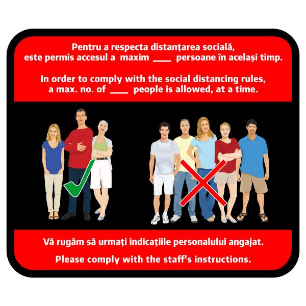 Sticker prevenție Covid-19 bilingv - Număr maxim de persoane 0