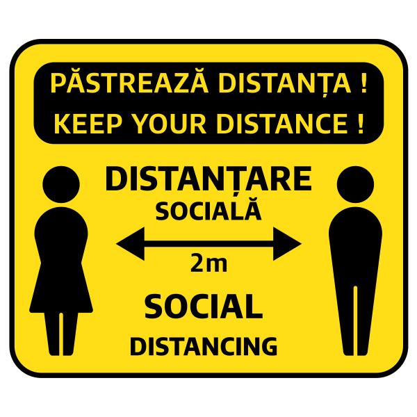 Sticker prevenție Covid-19 bilingv - Păstrează distanța 0