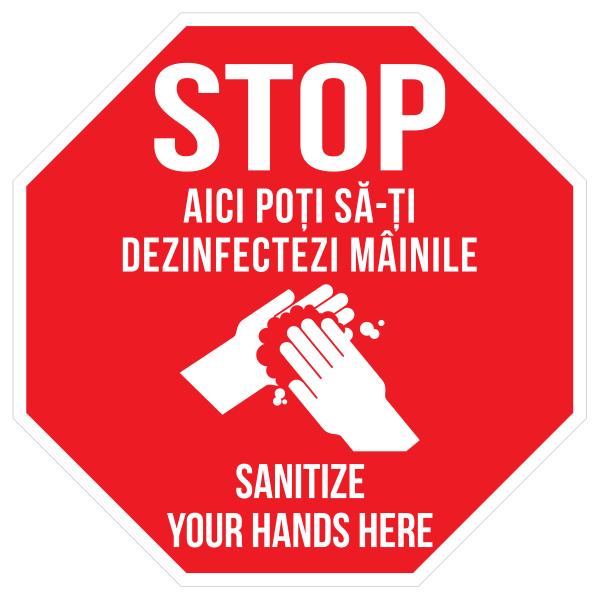 Sticker prevenție Covid-19 bilingv - Punct de dezinfectare 0