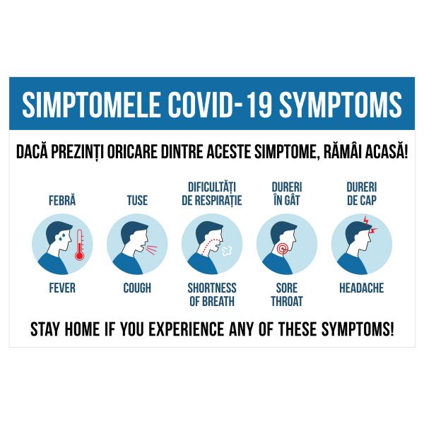 Sticker prevenție Covid-19 bilingv - Simptomele coronavirusului 0