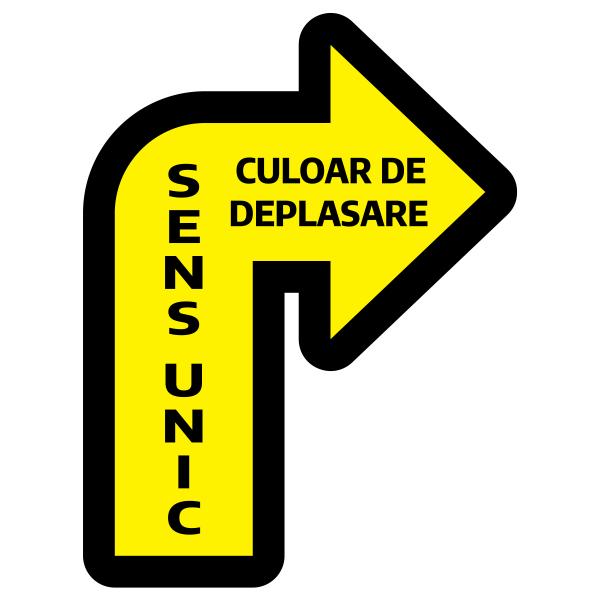 Sticker prevenție Covid-19 pentru pardoseală - Săgeată spre dreapta 0