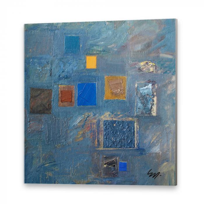 Tablou simplu - Abstract, ritm pe albastru 0