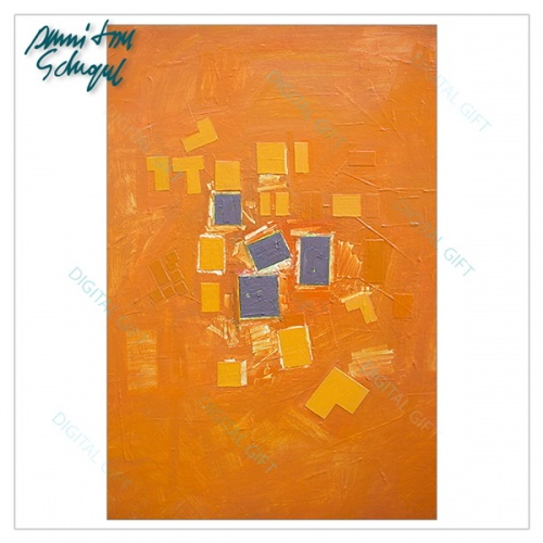 Tablou simplu - Abstract, ritm pe oranj 1