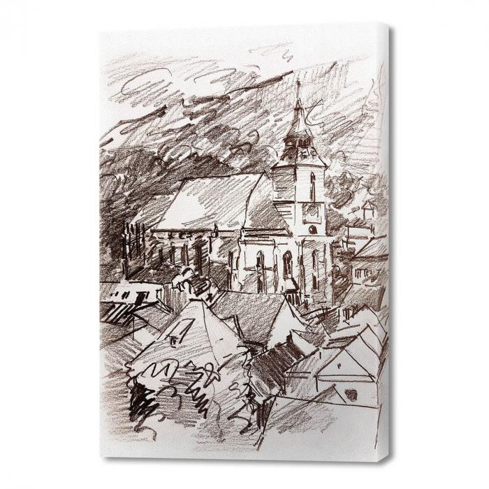 Tablou simplu - Biserica Neagră în creion 0