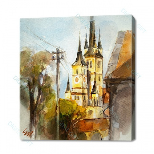 Tablou cu peisaj pe canvas - Biserica Sf. Nicolae, Brasov [0]