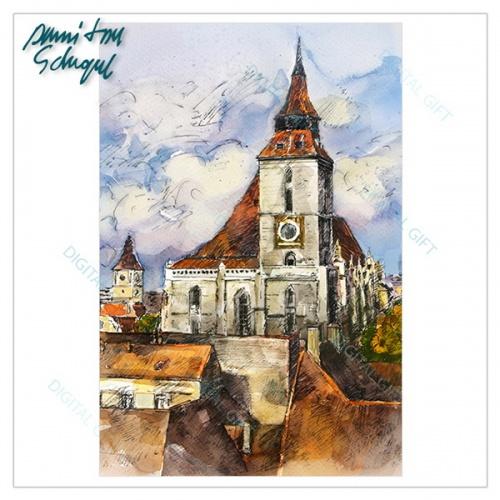Tablou simplu - Ceasul Bisericii Negre, Brașov 1