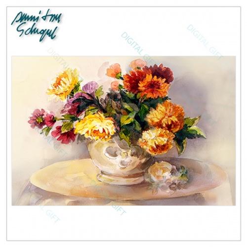 Tablou simplu - Crizanteme în vază [1]