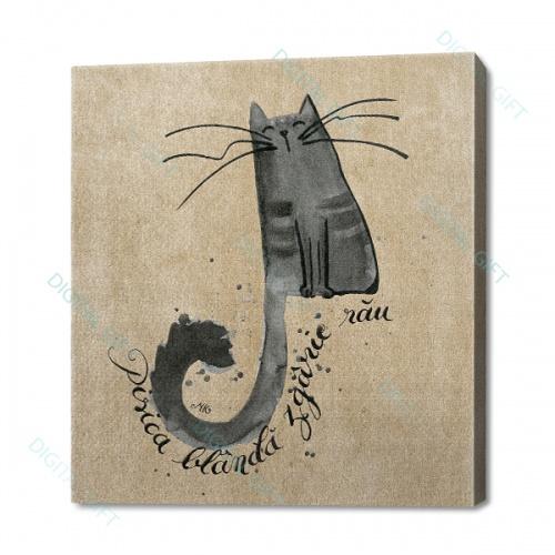 Tablou simplu - Pisica blândă zgârie rău 0