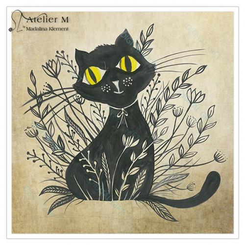 Tablou simplu - Pisica neagră 01 2