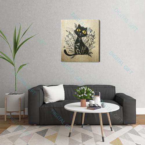 Tablou simplu - Pisica neagră 01 1