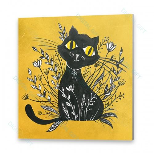 Tablou simplu - Pisica neagră 02 0
