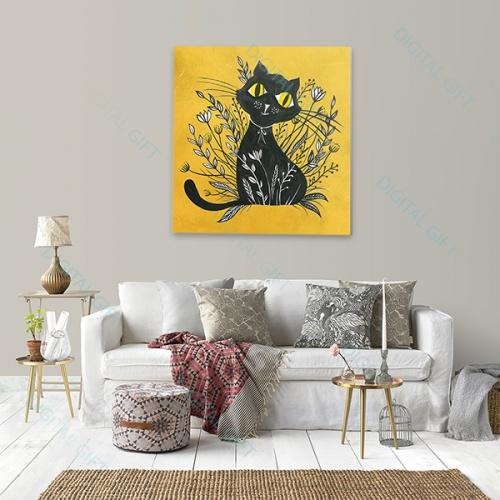 Tablou simplu - Pisica neagră 02 1