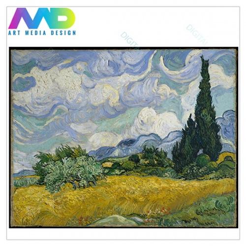 Tablou simplu - Vincent van Gogh - Câmp de grâu cu chiparoși [1]