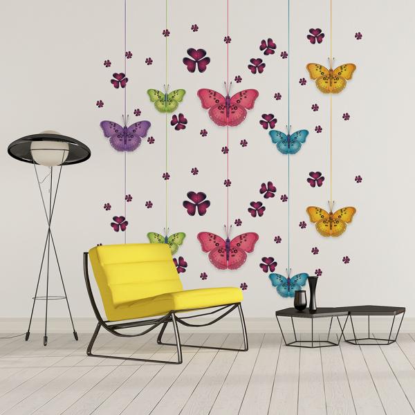 Tapet - Fluturi și flori 0