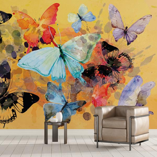 Tapet - Fluturi, pictură abstractă 0