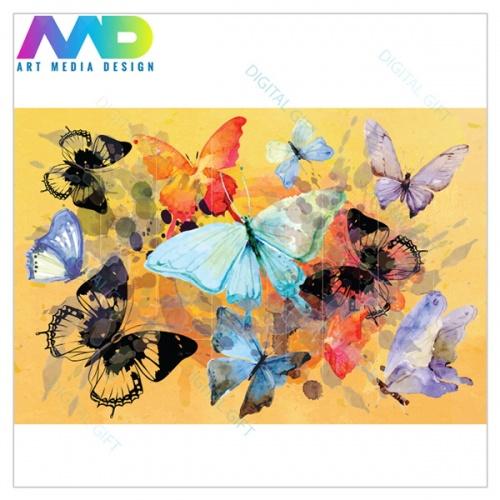 Tapet - Fluturi, pictură abstractă 1