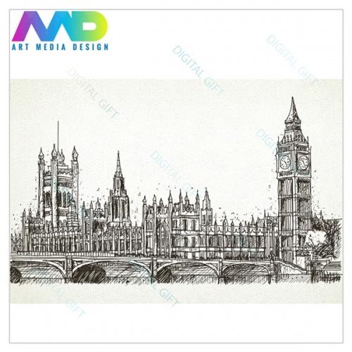 Tapet - Londra în creion 1