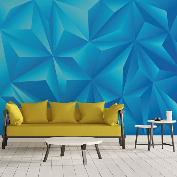 Tapet - Piramide albastru 3D 0