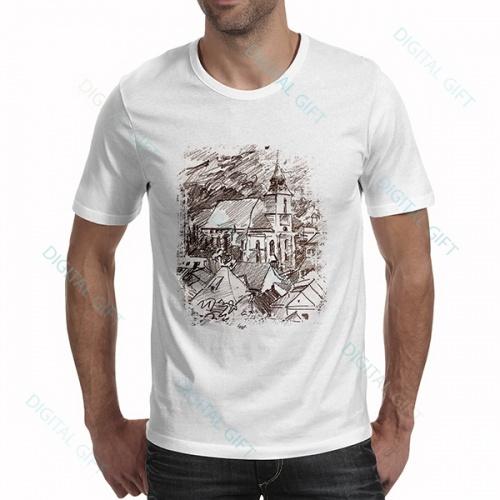 Tricou bărbați - Biserica Neagră în creion 0