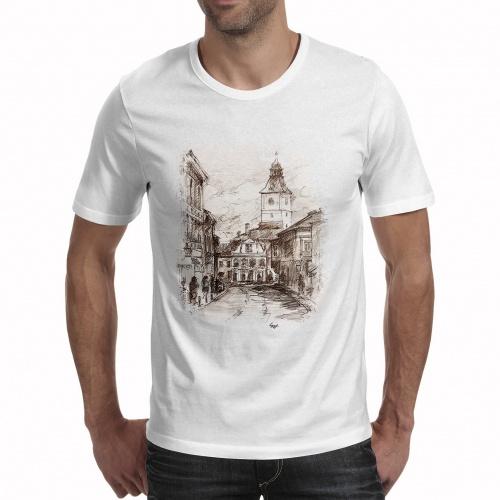 Tricou bărbați - Casa Sfatului în creion 0