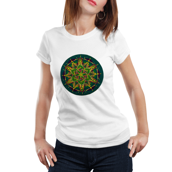 "Tricou dame - Mandala ""Inimă sacră"" 0"