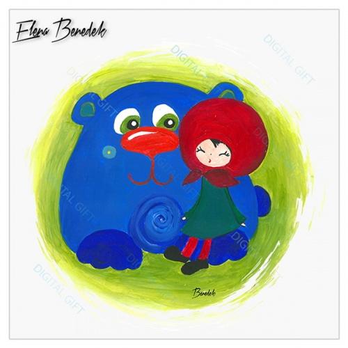 Tricou unisex copii - Fetița cu ursul 1