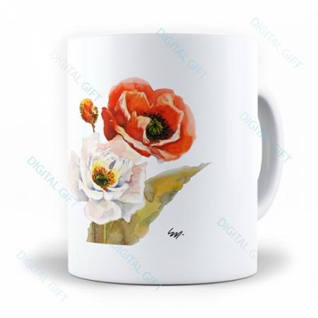 Cană ceramică - Flori pictate 020
