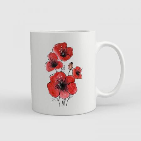 Cană ceramică - Flori de mac [0]