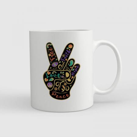 Cană ceramică - Peace&love boho style [0]
