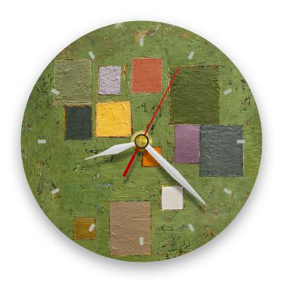 Ceas de perete - Abstract, compoziție pe verde0