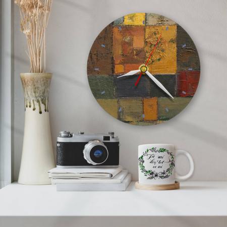 Ceas de perete - Abstract, labirint cu oranj [1]