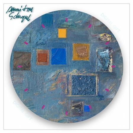 Ceas de perete - Abstract, ritm pe albastru1