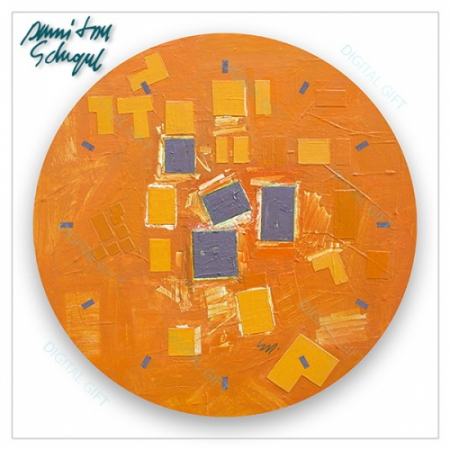 Ceas de perete - Abstract, ritm pe oranj1
