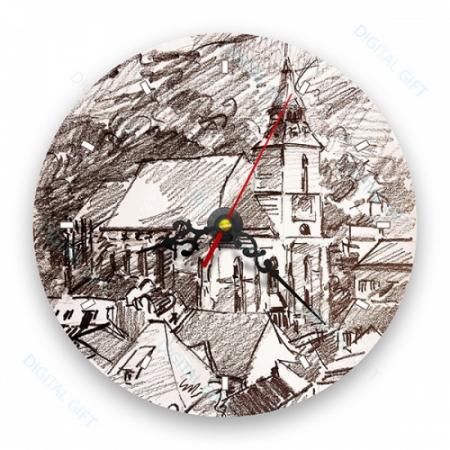 Ceas de perete - Biserica Neagră în creion0
