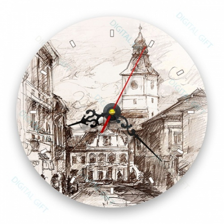 Ceas de perete - Casa Sfatului în creion0