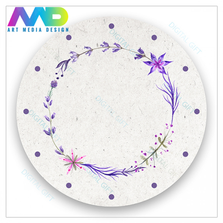 Ceas de perete - Coroană de flori violet1