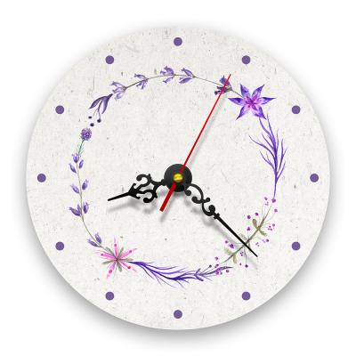 Ceas de perete - Coroană de flori violet0