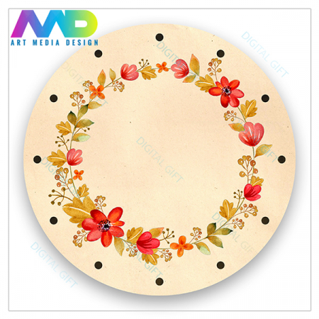 Ceas de perete - Flori și frunze retro1